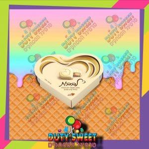 לב לבן במילוי קרם אגוזים 50g