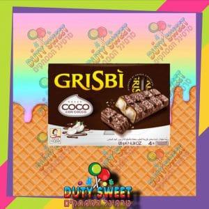גריסיבי וופל קרם חלב מצופה שוקולד חלב ושבבי קוקוס רביעייה 120g