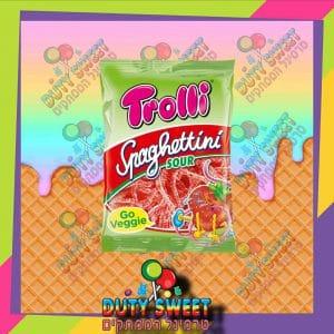 טרולי סוכריות גומי ספגטיני בטעם תות מסוכר 100g