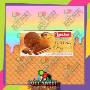 לואקר טורטינה שוקולד חלב ממולא בקרם אגוזי לוז ועלי וופל פריכים 125g